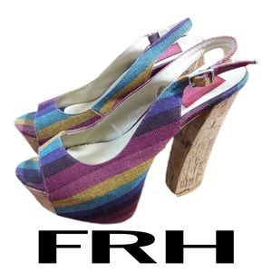 FRH Rainbow Platform Sandals Womens Size 9